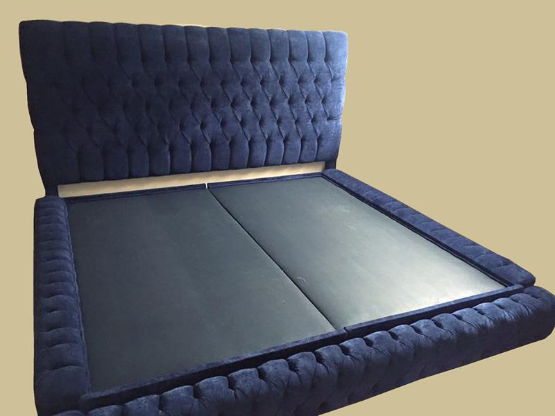 base de cama capitoneada y cabecera con capitone makali