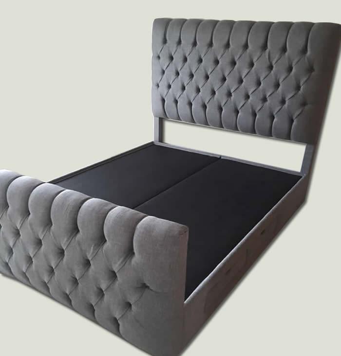 Base de cama con cabecera y piecera capitonada makali for Recamaras con cabecera tapizada