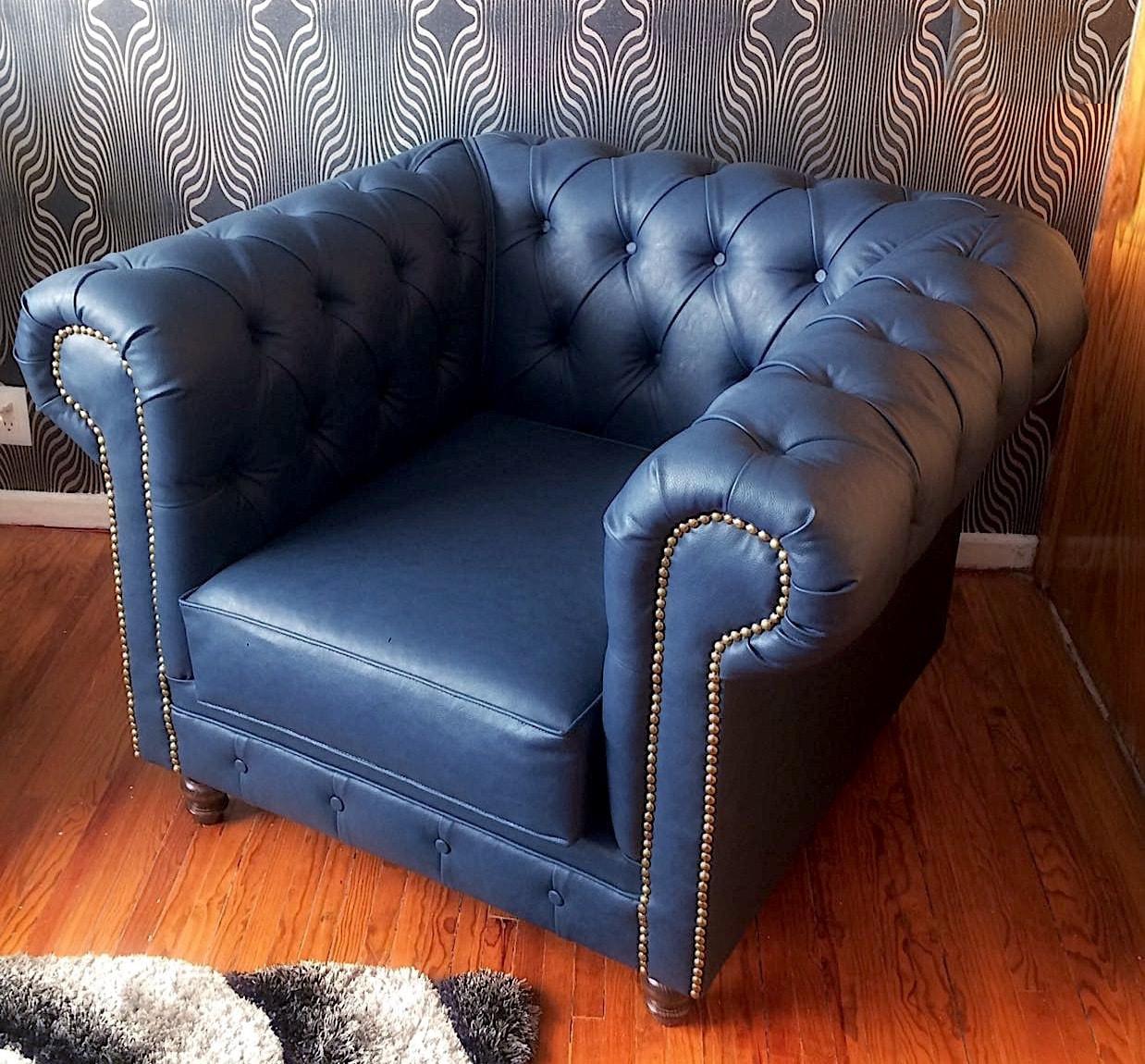 Sof chesterfield individual vintage en tela makali for Sofas y sillones de piel